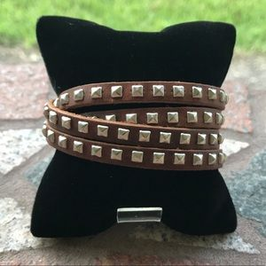 Boho / rocker brown studded leather wrap bracelet